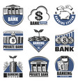 vintage colored banking emblems set vector image