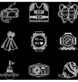 White line icons for diving vector image