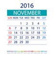 2016 calendar simple design date template month vector image vector image