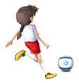 A girl playing with the flag of Israel vector image vector image