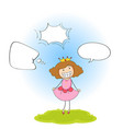 a princess with speech balloon vector image vector image