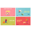 asian food website landing page set tiny male vector image