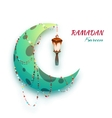 Banner with moon and arabic lantern for holy month vector image vector image
