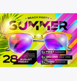 beach party poster for music festival vector image vector image