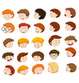 Boy heads with different expressions vector image vector image