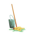 bucket and floor cleaning broom or mop cartoon vector image