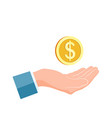 businessman hand hold gold coin charity and vector image