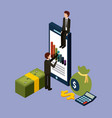 businessmen with smartphone graph financial money vector image