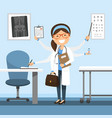 busy female doctor smiling professional standing vector image vector image