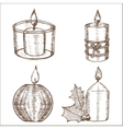 Candles Set Hand Draw Sketch vector image