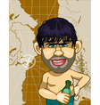 caricature a man with a bottle on a background map vector image vector image