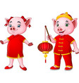 cartoon pig couple in a chinese costume holding la vector image vector image