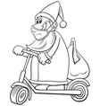 cartoon santa claus riding an electric scooter vector image