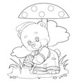 character a little teddy bear playing in the vector image vector image