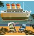 Cruise ship near the shore vector image