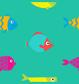 cute cartoon fish icon set seamless pattern flat vector image