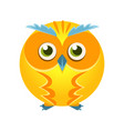 cute yellow geometric owl bird colorful cartoon vector image
