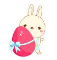 easter bunny with egg cartoon cute rabbit in vector image