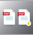 flat pdf file icon and pdf download vector image vector image