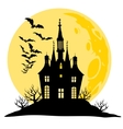 Halloween view of castle moon bats and hill vector image vector image