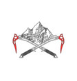 hand drawn crossed ice axes with mountains logo or vector image vector image