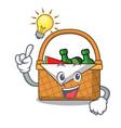 have an idea picnic basket mascot cartoon vector image