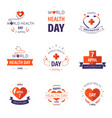 health day isolated icons cross and heart vector image vector image