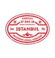 istanbul city visa stamp on passport vector image vector image