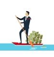 Man and Money in Boat vector image vector image