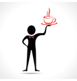 Man holding a coffee mug icon vector image vector image