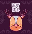 merry christmas celebration cute reindeer face vector image