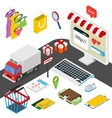 Mobile shopping isometric concept with related vector image vector image