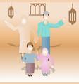 moslem family celebrating ramadan joyfully vector image vector image