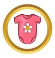 Pink baby bodysuit icon cartoon style vector image