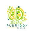 pure lemonade 100 percent logo template original vector image vector image