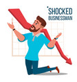 sad shocked businessman losing money vector image