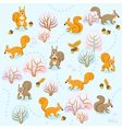 Seamless pattern of winter forest with squirrels b vector image vector image