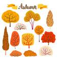 set autumn stylized trees vector image
