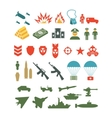 set flat military infographics icons vector image