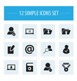 set of 12 editable global icons includes symbols vector image vector image