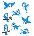 set of blue bird cartoon posing vector image vector image