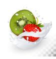 strawberry and kiwi in a milk splash vector image