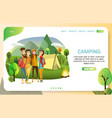 summer camping landing page website vector image