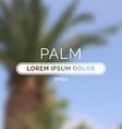Summer palm blurred unfocused retro background vector image vector image