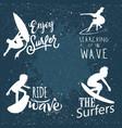 surfing logos white silhouette retro design vector image vector image