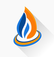 symbol fire Orange and dark blue flame glass icon vector image vector image