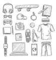 teenage accessories young person stuff elements vector image