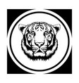 tiger face tattoo wild line art with circle vector image vector image