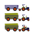 tractor with an empty trailer tractor loaded with vector image vector image