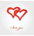 Valentines background with two red hearts vector image